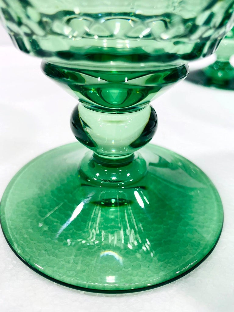 Contemporary Set of Six Vintage Villeroy & Boch Blown Crystal Goblets in Green, circa 2005