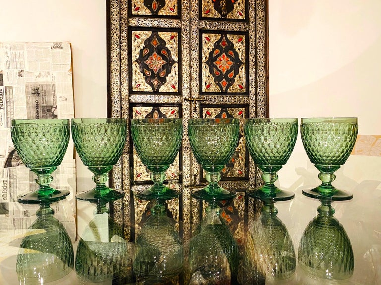Set of Six Vintage Villeroy & Boch Blown Crystal Goblets in Green, circa 2005 2