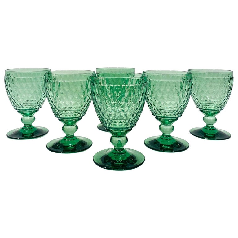 Set of Six Vintage Villeroy & Boch Blown Crystal Goblets in Green, circa 2005