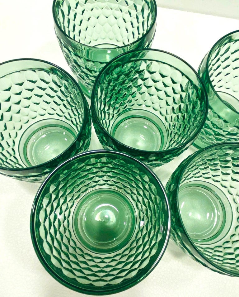 Set of Six Vintage Villeroy & Boch Blown Crystal Rock Glasses in Green 3