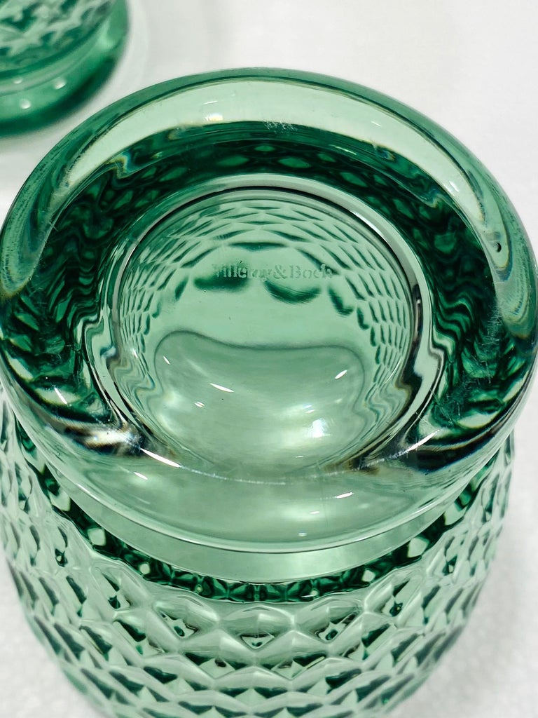 Set of Six Vintage Villeroy & Boch Blown Crystal Rock Glasses in Green 4