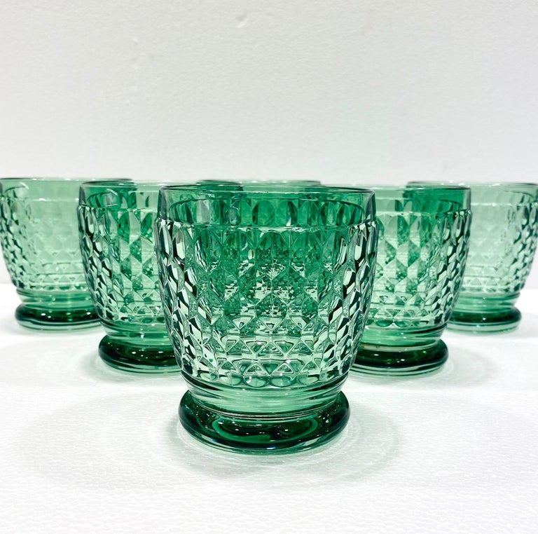 Vintage double old fashioned crystal barware glasses for cocktails or water from Villeroy & Boch in gorgeous hues of emerald green, circa 2005. The blown and handcrafted glasses are comprised of hobnail crystal with a classic oval diamond pattern