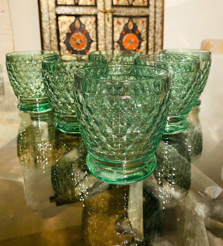 Hand-Crafted Set of Six Vintage Villeroy & Boch Blown Crystal Rock Glasses in Green