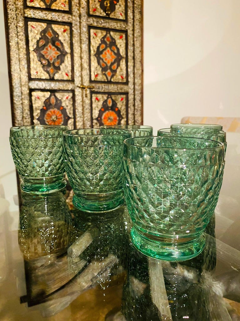 Set of Six Vintage Villeroy & Boch Blown Crystal Rock Glasses in Green In Good Condition In Fort Lauderdale, FL