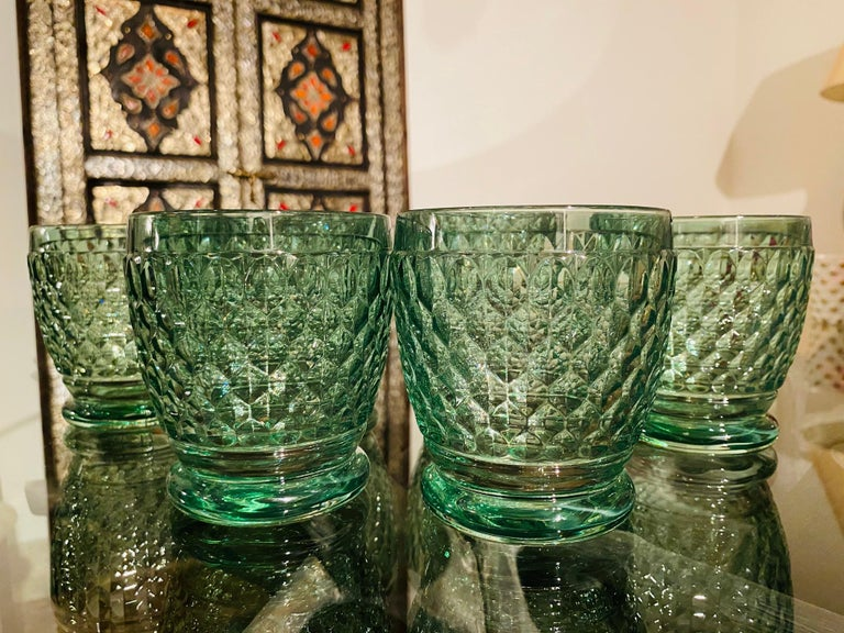 Contemporary Set of Six Vintage Villeroy & Boch Blown Crystal Rock Glasses in Green