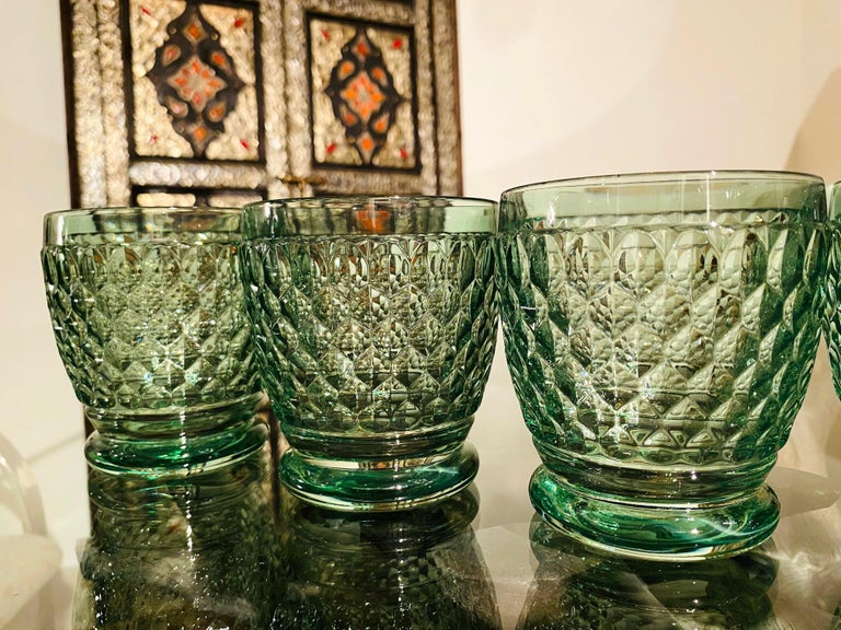 Set of Six Vintage Villeroy & Boch Blown Crystal Rock Glasses in Green 1
