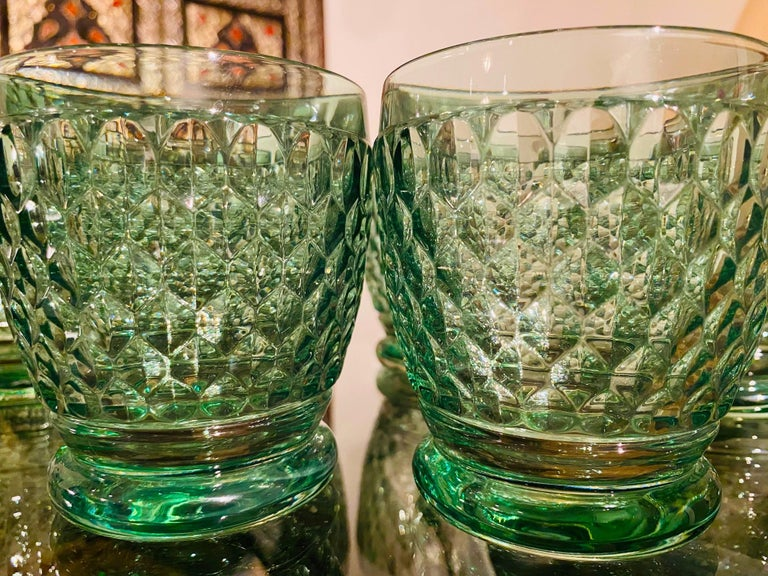 Set of Six Vintage Villeroy & Boch Blown Crystal Rock Glasses in Green 2