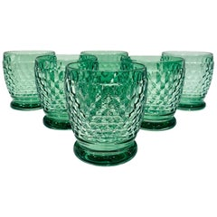 Set of Six Vintage Villeroy & Boch Blown Crystal Rock Glasses in Green