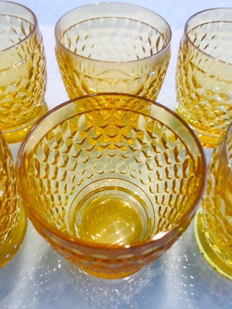 Set of Six Vintage Villeroy & Boch Crystal Whiskey Glasses in Amber For Sale 3