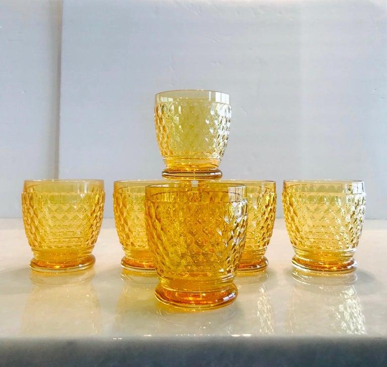 Set of Six Vintage Villeroy & Boch Crystal Whiskey Glasses in Amber For Sale 4