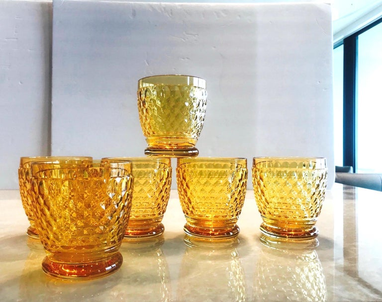 Mid-Century Modern Set of Six Vintage Villeroy & Boch Crystal Whiskey Glasses in Amber For Sale