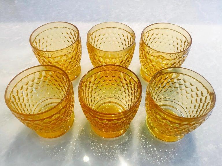 German Set of Six Vintage Villeroy & Boch Crystal Whiskey Glasses in Amber For Sale