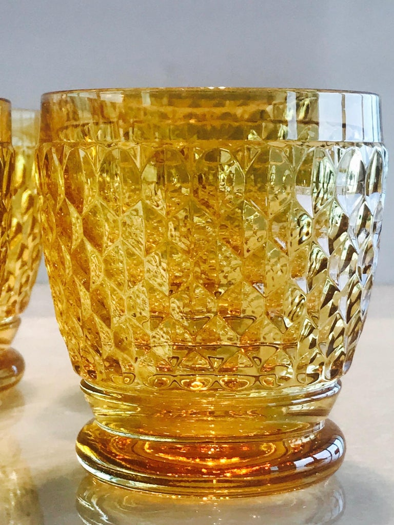 Set of Six Vintage Villeroy & Boch Crystal Whiskey Glasses in Amber In Excellent Condition For Sale In Miami, FL