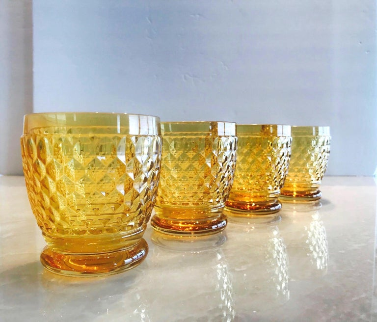 Contemporary Set of Six Vintage Villeroy & Boch Crystal Whiskey Glasses in Amber For Sale