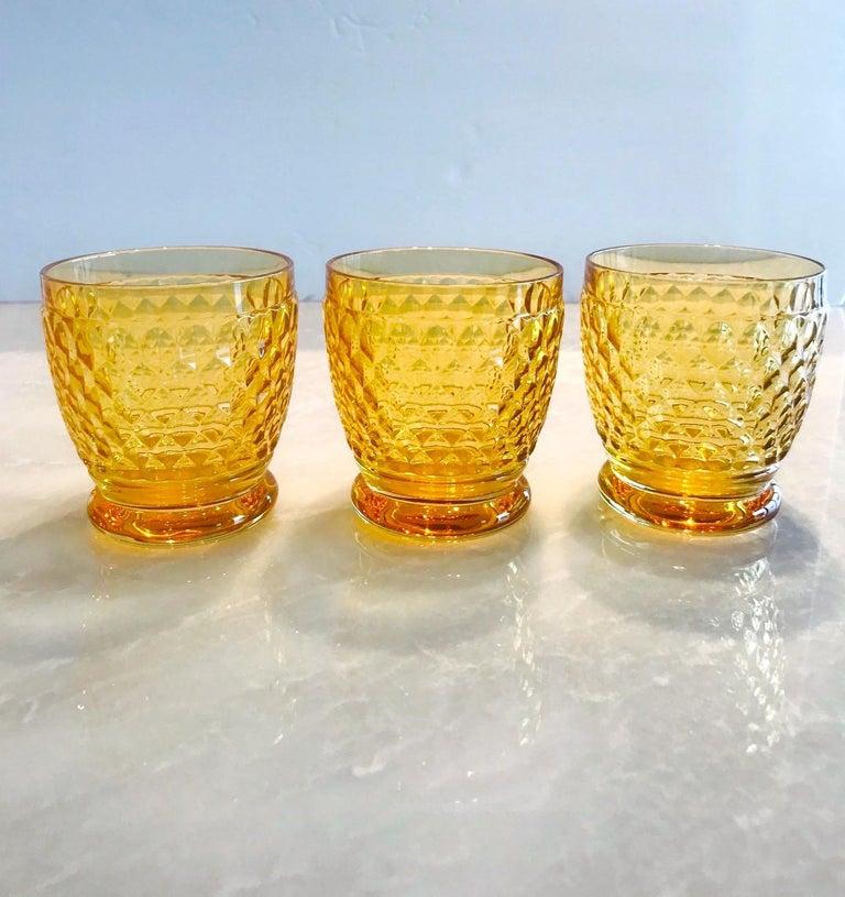 Set of Six Vintage Villeroy & Boch Crystal Whiskey Glasses in Amber For Sale 1