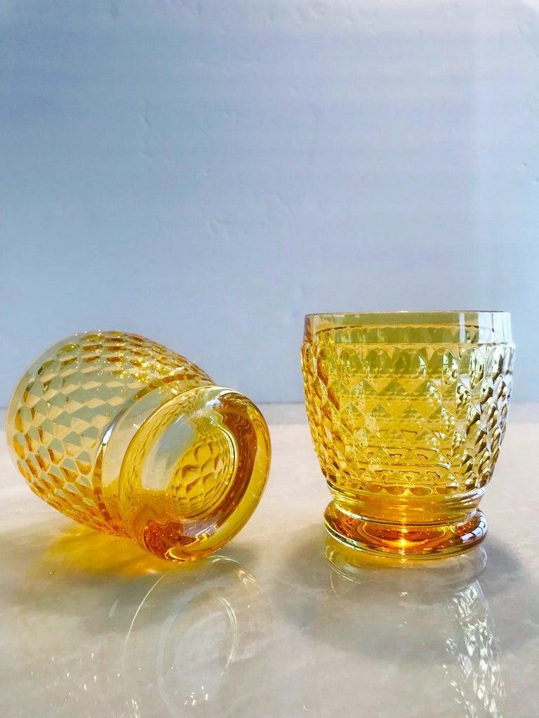 Set of Six Vintage Villeroy & Boch Crystal Whiskey Glasses in Amber For Sale 2