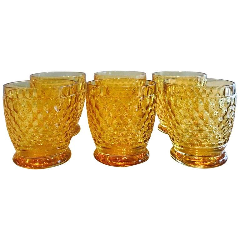 Set of Six Vintage Villeroy & Boch Crystal Whiskey Glasses in Amber For Sale