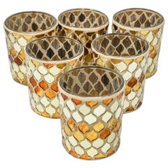Set of Six Votive Candleholder with Gold Moorish Alhambra Design