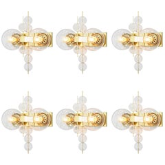Set of Six Wall Light in Brass and Glass