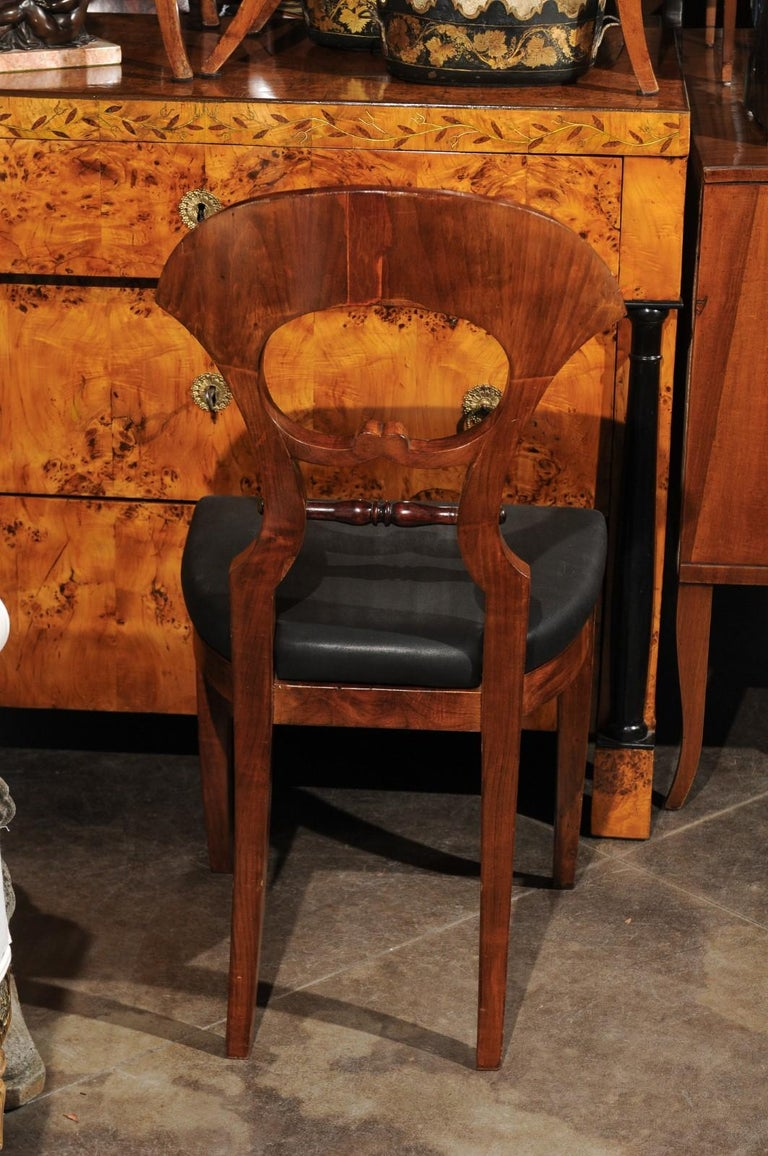 Upholstery Set of Six Walnut 1840s Biedermeier Austrian Dining Room Chairs with Fan Backs For Sale