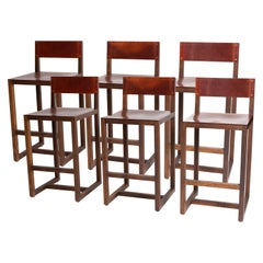 Set of Six Walnut and Brown Leather Counter Stools by BDDW