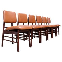 Set of Six Walnut and Leather Dining Chairs by Greta Grossman