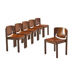 Set of Six Walnut Dining Chairs by Vico Magistretti for Cassina