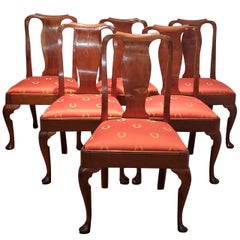 Set of Six Walnut Dining Chairs England, circa 1750s