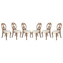 Set of Six Walnut Dining Room Chairs
