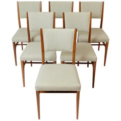 Set of Six Walnut Gio Ponti '602' Chairs by Cassina, Italy, circa 1955