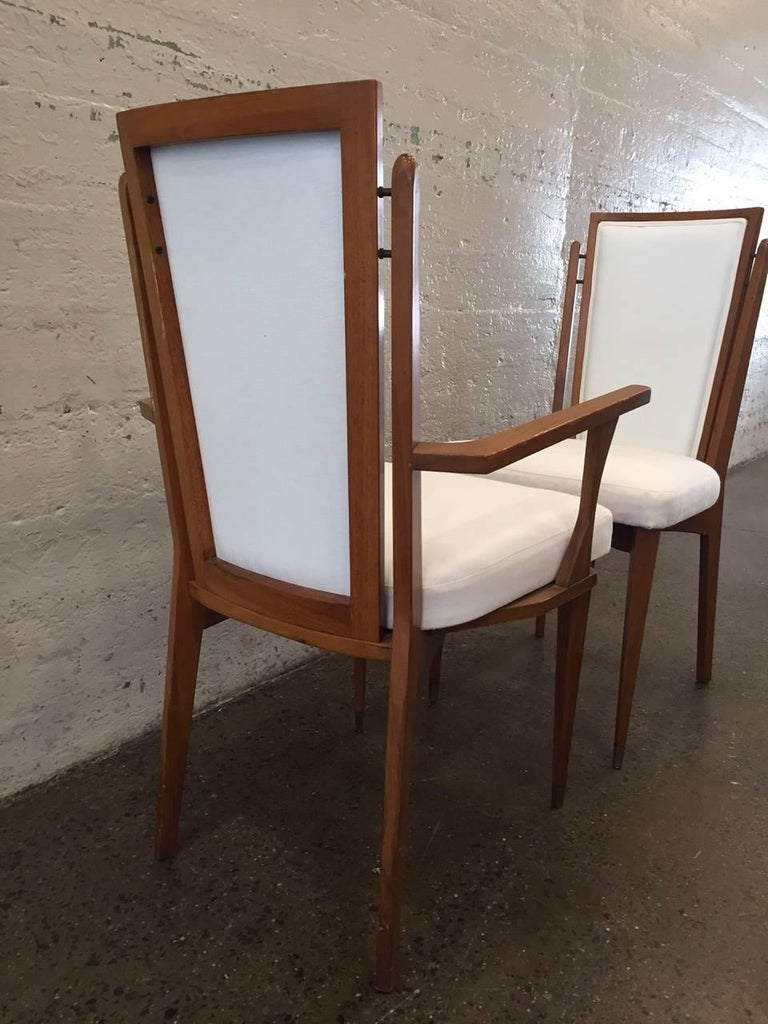 Mid-20th Century Set of Six Walnut Italian Dining Chairs For Sale