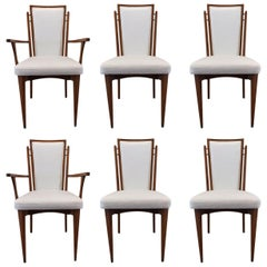 Set of Six Walnut Italian Dining Chairs