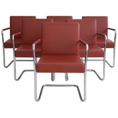 Set of Six Walter Knoll Leather and Tubular Steel Cantilever Chairs