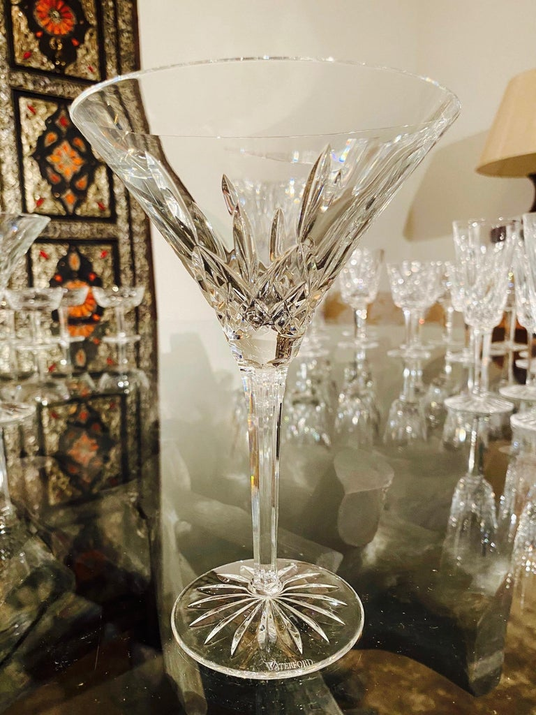 Set of Six Waterford Crystal Tall Martini Glasses, Lismore Series, circa 1995 For Sale 3