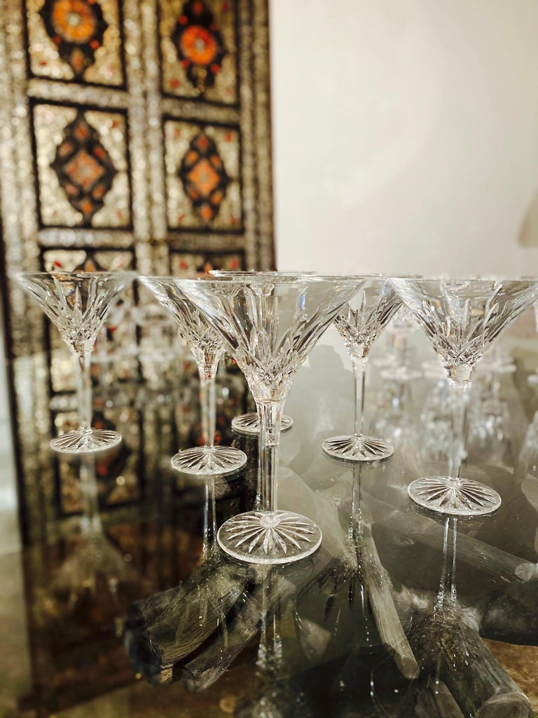 Regency Set of Six Waterford Crystal Tall Martini Glasses, Lismore Series, circa 1995 For Sale
