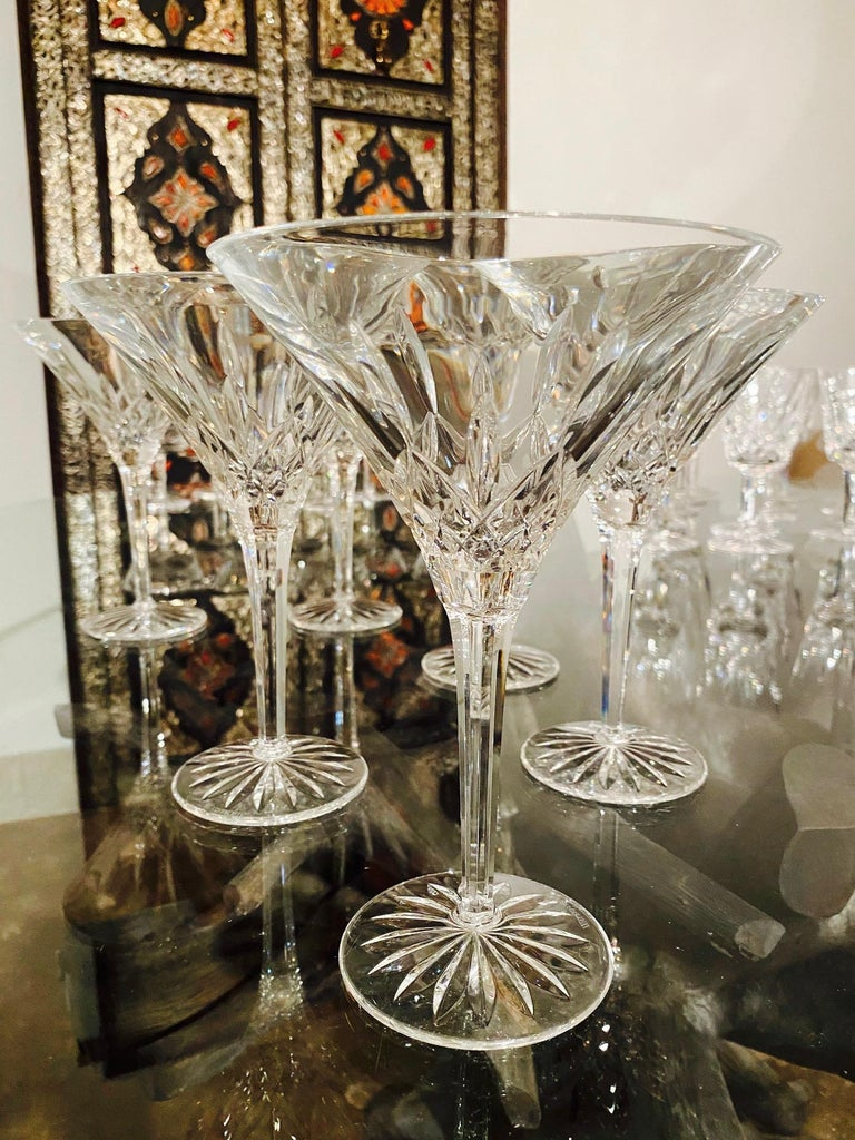 German Set of Six Waterford Crystal Tall Martini Glasses, Lismore Series, circa 1995 For Sale