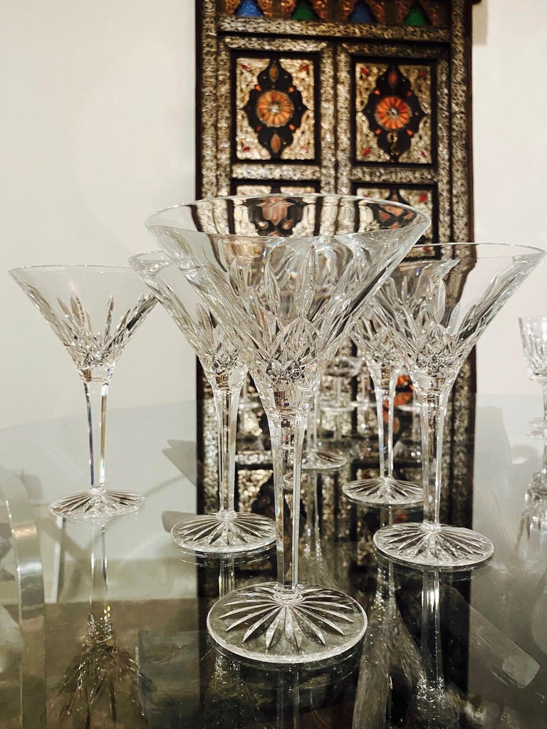 Faceted Set of Six Waterford Crystal Tall Martini Glasses, Lismore Series, circa 1995 For Sale