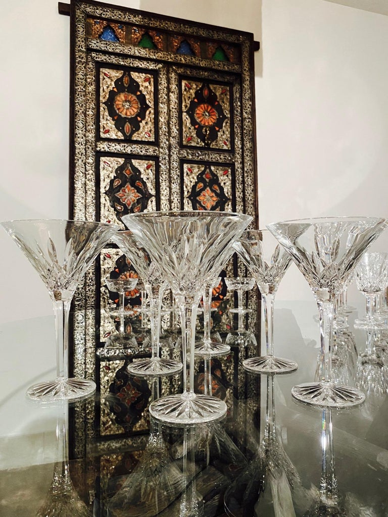 Set of Six Waterford Crystal Tall Martini Glasses, Lismore Series, circa 1995 In Excellent Condition For Sale In Miami, FL