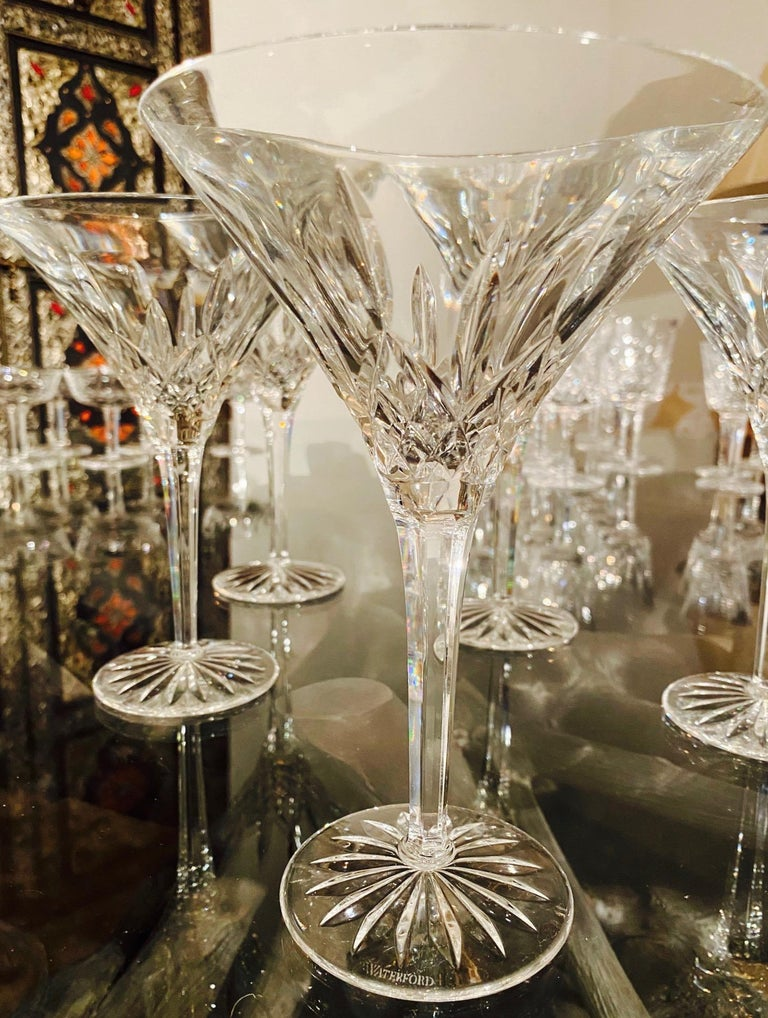 Late 20th Century Set of Six Waterford Crystal Tall Martini Glasses, Lismore Series, circa 1995 For Sale