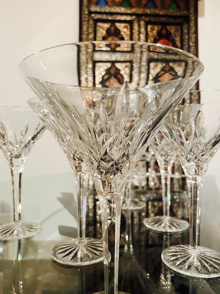 Set of Six Waterford Crystal Tall Martini Glasses, Lismore Series, circa 1995 For Sale 1
