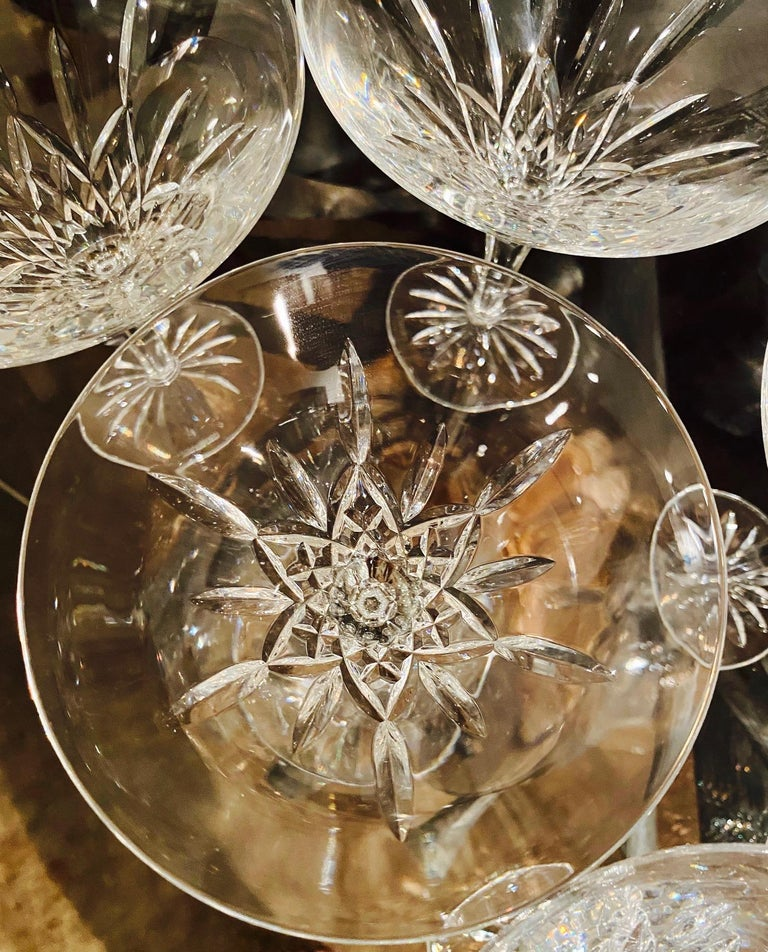 Set of Six Waterford Crystal Tall Martini Glasses, Lismore Series, circa 1995 For Sale 2