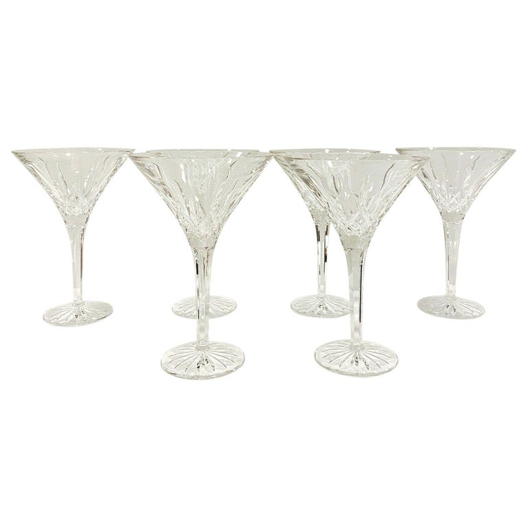 Set of Six Waterford Crystal Tall Martini Glasses, Lismore Series, circa 1995 For Sale
