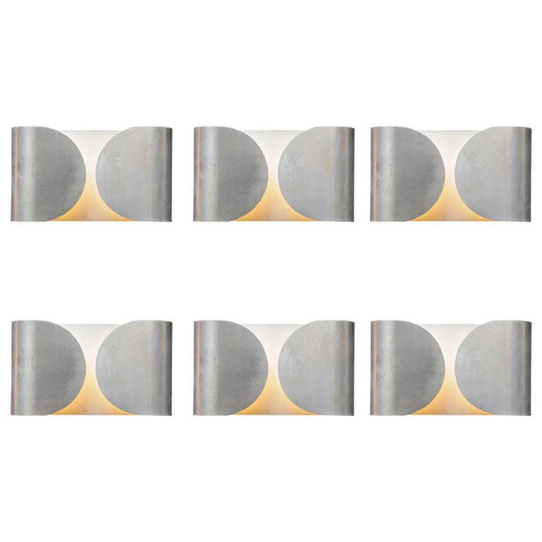 Set of Six Waved Metal Wall Sconces For Sale