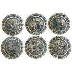 Set of Six Wedgwood Blue and White Yale University Dinner Plates
