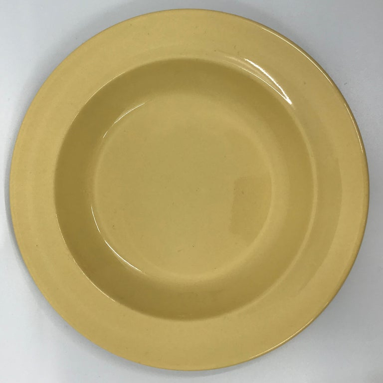 Glazed Set of Six Wedgwood Yellow Plates For Sale