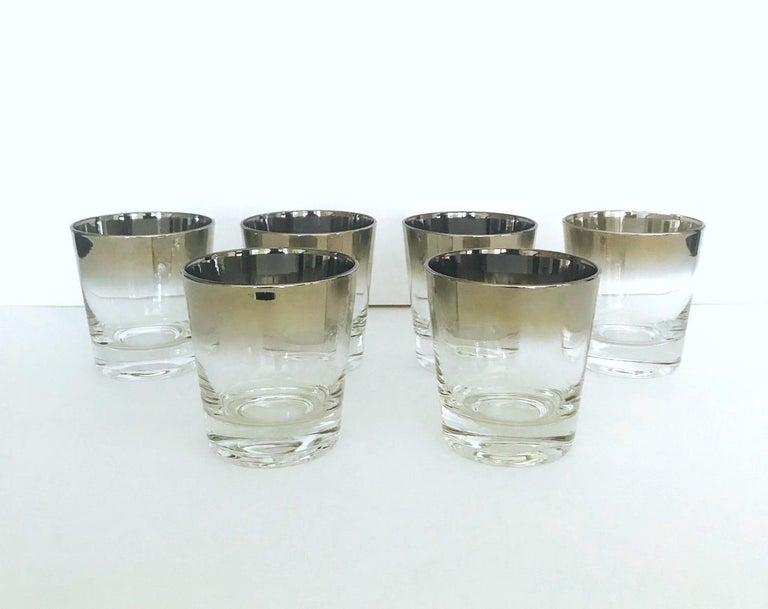 Mid-Century Modern Set of Six Whiskey Barware Glasses by Dorothy Thorpe, circa 1960s For Sale