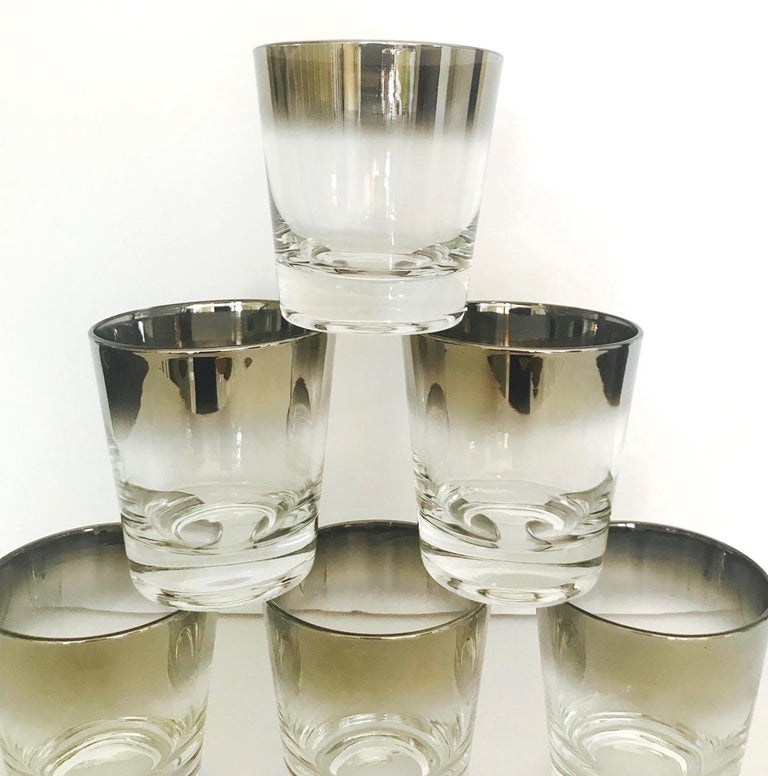 Set of Six Whiskey Barware Glasses by Dorothy Thorpe, circa 1960s In Good Condition For Sale In Fort Lauderdale, FL