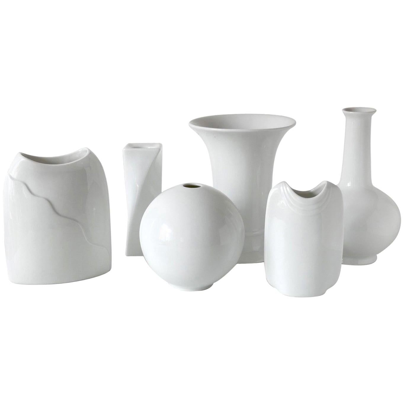 Set of Six White Porcelain Vases Candleholder by M. Fray for Kaiser