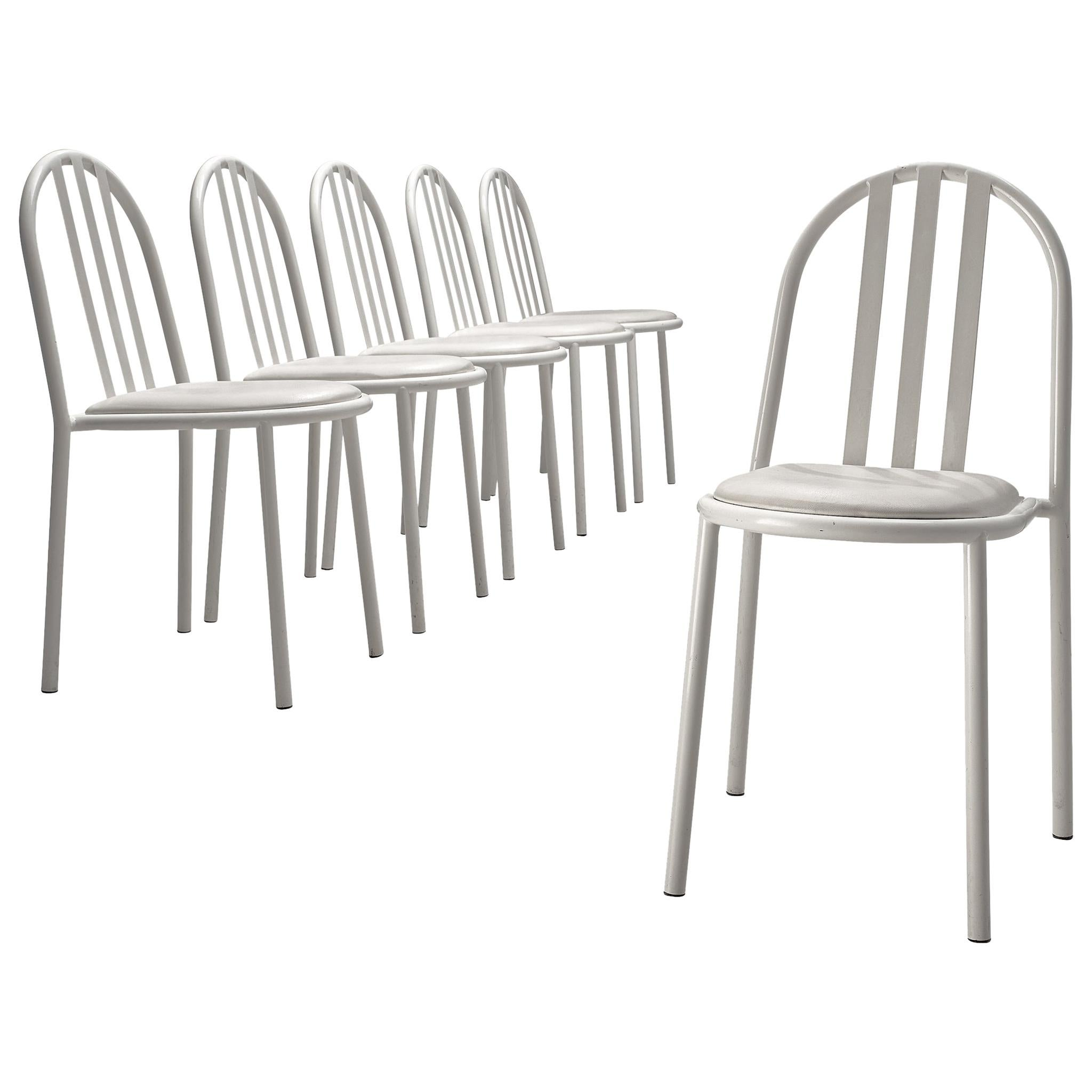 Set of Six White Tubular Steel Chairs by Robert Mallet Stevens