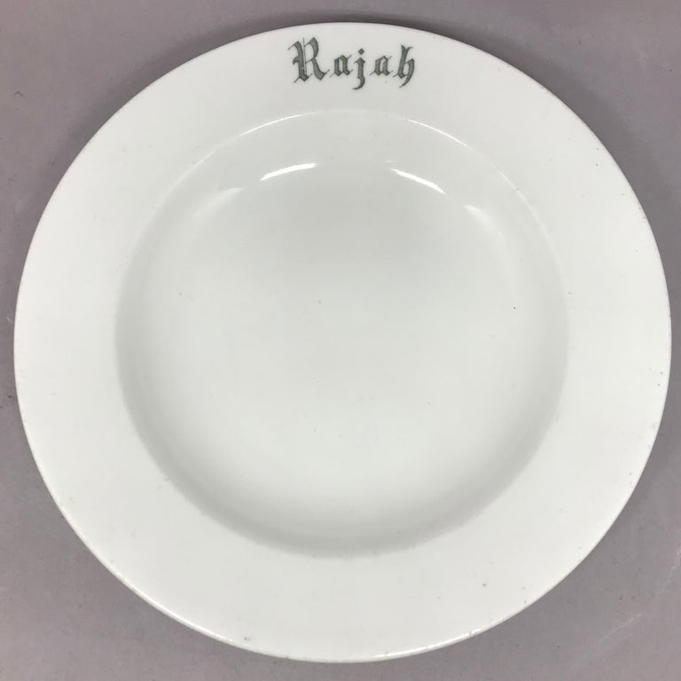 "Mid-20th Century Set of Six White Vintage ""Rajah"" Plates For Sale"